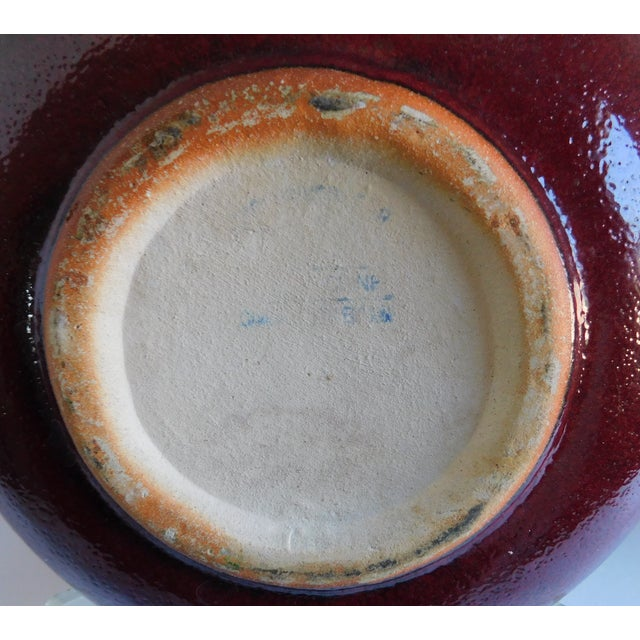 1980s Vintage Claret and Taupe Heavy Glazed Pottery Bowl For Sale - Image 5 of 13