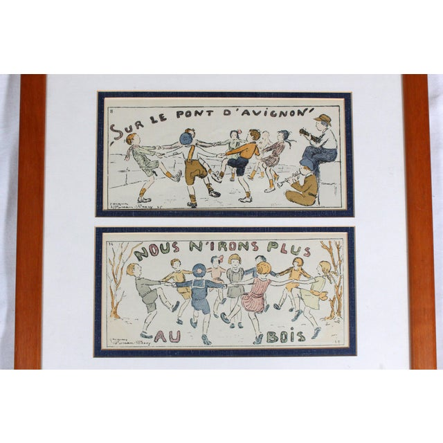 "Framed Antique French Nursery Rhyme Lithograph ""Sur Le Pont D'Avignon"" For Sale - Image 4 of 5"