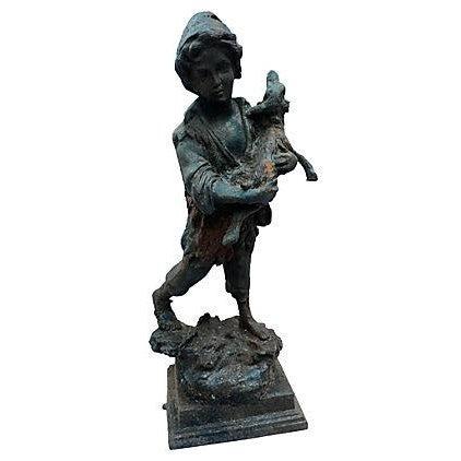 French Cast Iron Boy & Calf Garden Statue - Image 1 of 6