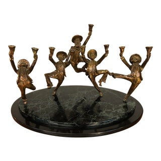 Bronze Sculptural Figurative Menorah With Tiered Granite Base by Zachary Oxman For Sale