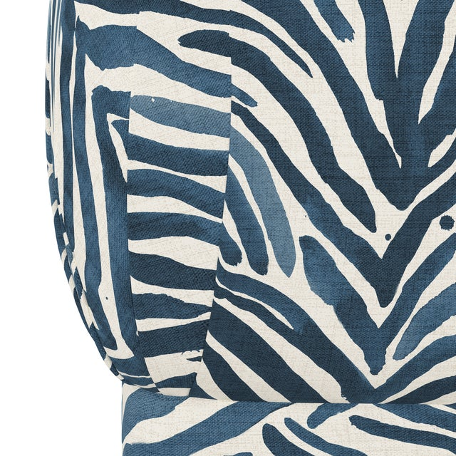 Transitional Ottoman, Washed Zebra Blue For Sale - Image 3 of 6