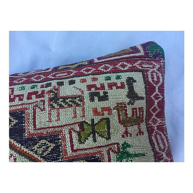 Silk Sumak Rug Pillow W/ Animal Motif - Image 5 of 6