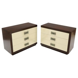 Pair of Two-Tone Mid-Century Modern Art Deco Bachelor Chests Dressers For Sale