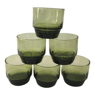 Mid-Century Green Lowball Glasses - Set of 6 For Sale