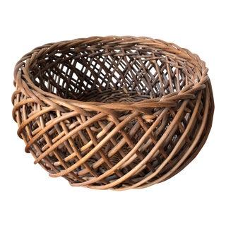 Vintage Hand-Made Round Basket For Sale