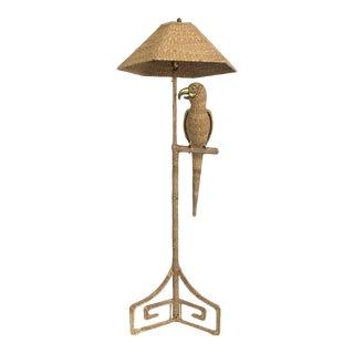 Vintage 1974 Mario Lopez Torres Wicker Parrot Floor Lamp For Sale