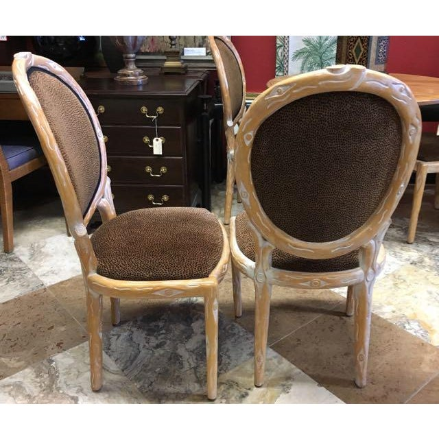Tan Boho Chic Faux Bois Brown Velvet Side Chairs - Set of 4 For Sale - Image 8 of 12
