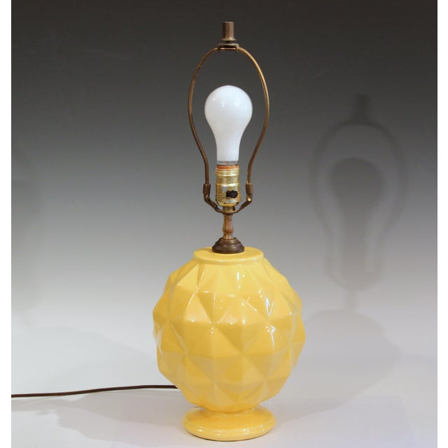 Vintage Stangl Art Deco Pottery Geodesic Dome Sphere Globe Yellow Vase Lamp For Sale - Image 9 of 9