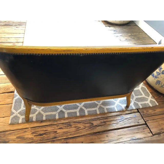 Traditional Traditional Fruitwood and Faux Black Leather Loveseat For Sale - Image 3 of 9