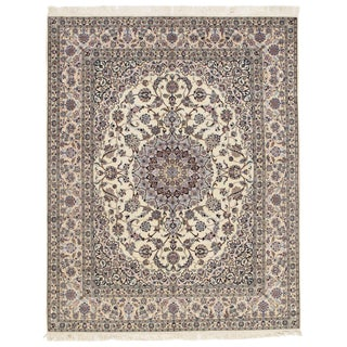 "Pasargad Persian Nain Silk & Wool Rug - 6'8"" X 8'3"" For Sale"