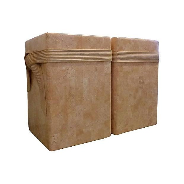 Mid-Century Tessellated Stone Side Tables - Pair - Image 5 of 6