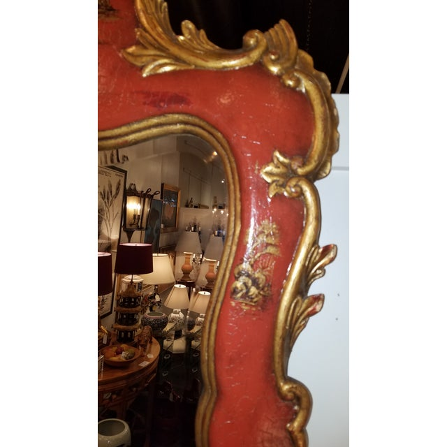 Theodore Alexander Chinoiserie Red Lacquer and Gold Painted Mirror For Sale - Image 10 of 11