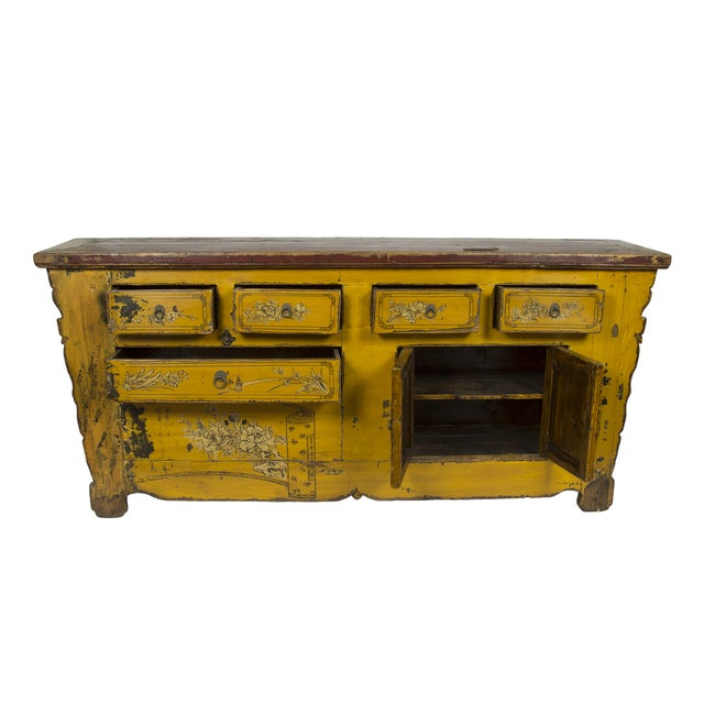 Antique Yellow Red Carved Cabinet - Image 2 of 4