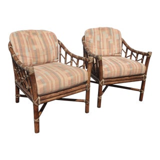 Pair of Vintage Mid Century Modern McGuire Bamboo Rattan Accent Chairs For Sale