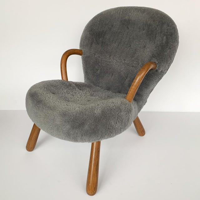 2010s Philip Arctander for Paustian Gray Sheepskin Upholstered Lounge Chairs - a Pair For Sale - Image 5 of 13