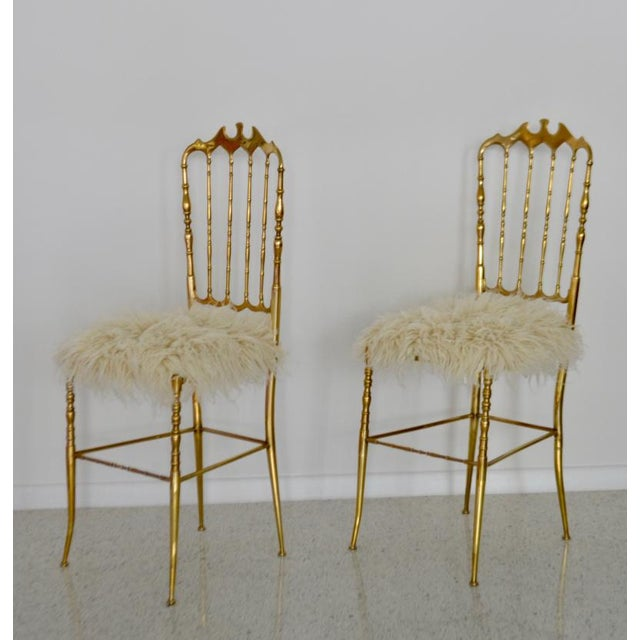Brass Mid-Century Brass Side Chairs - a Pair For Sale - Image 7 of 13