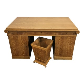 Late 19th Century French Empire Curly Maple Executive Desk With Matching Bin - 2 Pieces For Sale