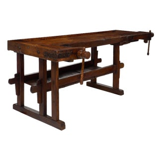 French Alps Late 19th Century Antique Workbench