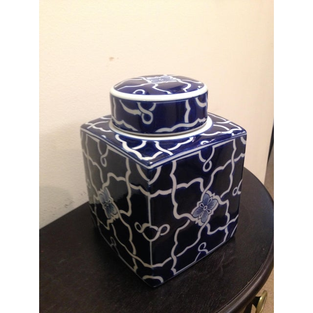 Blue & White Square Ginger Jar - Image 3 of 6