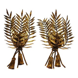French Gilded Tole Leaf Sconces - A Pair For Sale