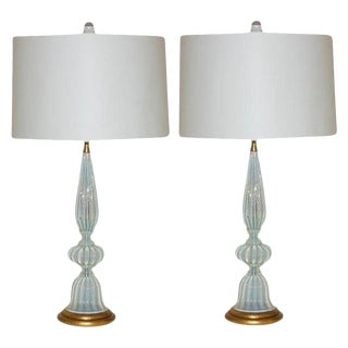 Marbro Murano Opaline Glass Table Lamps White For Sale