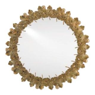 Marjorie Skouras Brass Figuier Round Wall Mirror For Sale