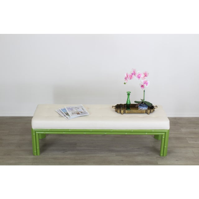 Mid-Century Apple Green Faux Bamboo Bench With Linen Cushion, Green Bamboo Bench, Cream Linen Bench For Sale In Miami - Image 6 of 8