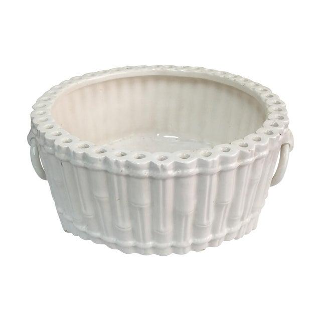 Italian Ceramic Faux Bamboo Planter - Image 1 of 7