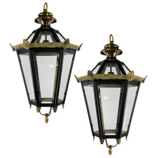 Early 21st Century English Brass Lanterns - a Pair