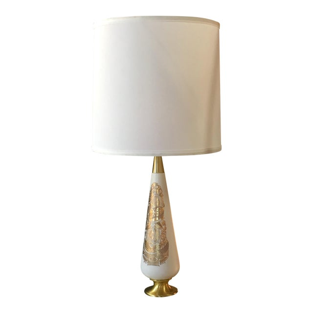 Georges Briard Gold & Black Glass Table Lamp For Sale