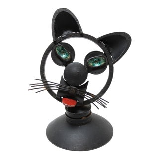1980s Folk Art Iron Found Object Cat Bust Paper Weight Figurine For Sale