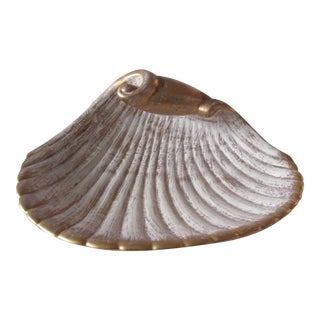 Large Mid-Century Modern Shell Decorative Serving Dish For Sale