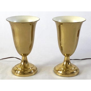 1940's Uplight Brass Torchiere Table Lamps - a Pair Preview