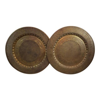 Vintage Brass Wall Art Metal Disc Table Top Trays - a Pair For Sale
