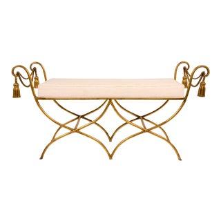 Italian Gilt Iron Rope & Tassel Boudoir Bench For Sale
