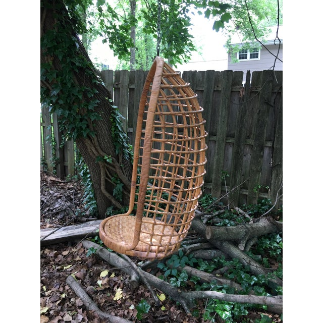 Anglo-Indian 1970s Vintage Rattan Hanging Chair For Sale - Image 3 of 11