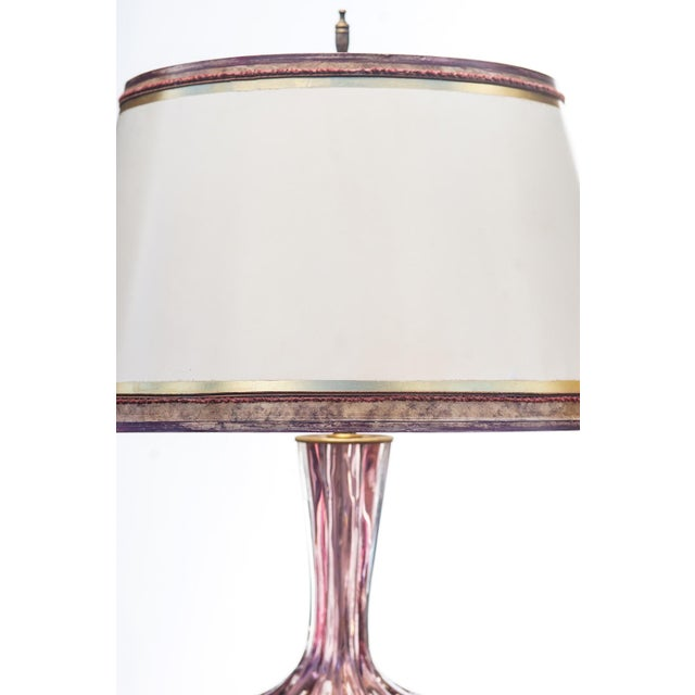 Pair of Mid-Century purple 1950's Murano lamps on lucite bases. The shades are included and are handcrafted in parchment...