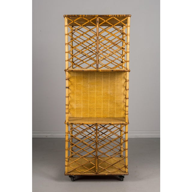 Tan Mid-Century French Riviera Bamboo & Rattan Bookcase For Sale - Image 8 of 11