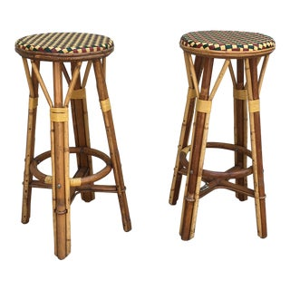Maison Druker French Cafe Bar Stools - A Pair For Sale
