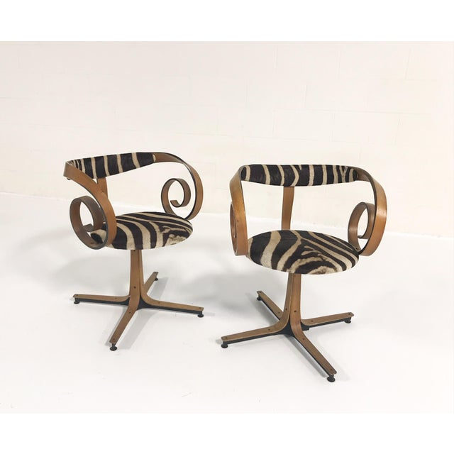 Plycraft George Mulhauser for Plycraft Sultana Chairs Restored in Zebra Hide - Pair For Sale - Image 4 of 11
