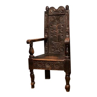 English Carved Oak Armchair in Arts and Craft Style For Sale