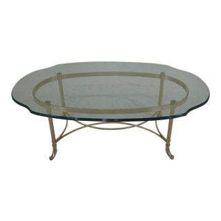 1990s Regency Labarge Brass & Glass Coffee Table For Sale