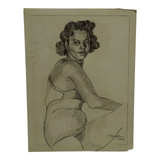 "1952 Mid-Century Modern Original Drawing on Paper, ""Mabelle"" by Tom Sturges Jr."