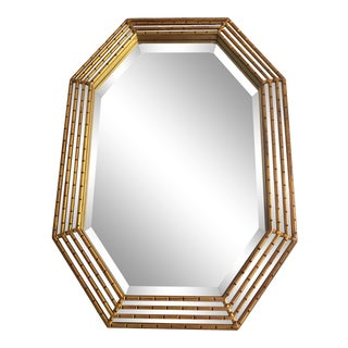 1980s Vintage Gilded Faux Bamboo Mirror For Sale