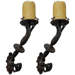 1920s Antique French Wrought Iron Torch Sconces- A Pair For Sale