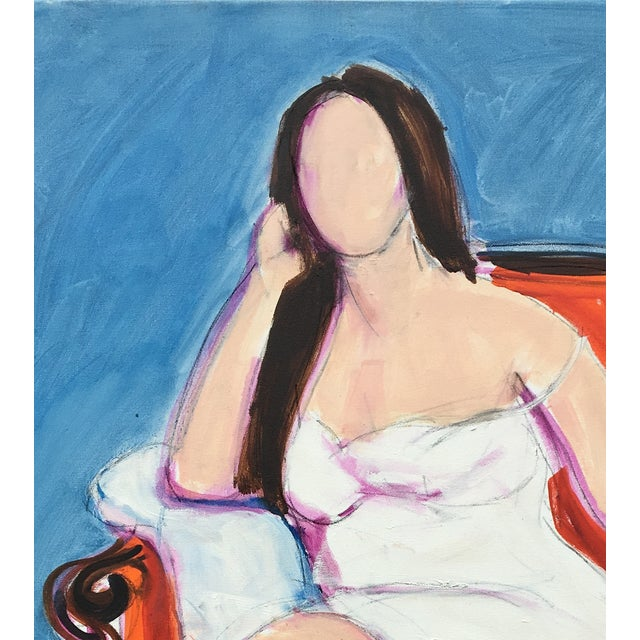 Portrait of a woman reclining in her orange chair. Oil on canvas, ready to hang. Part of a series of portraits.