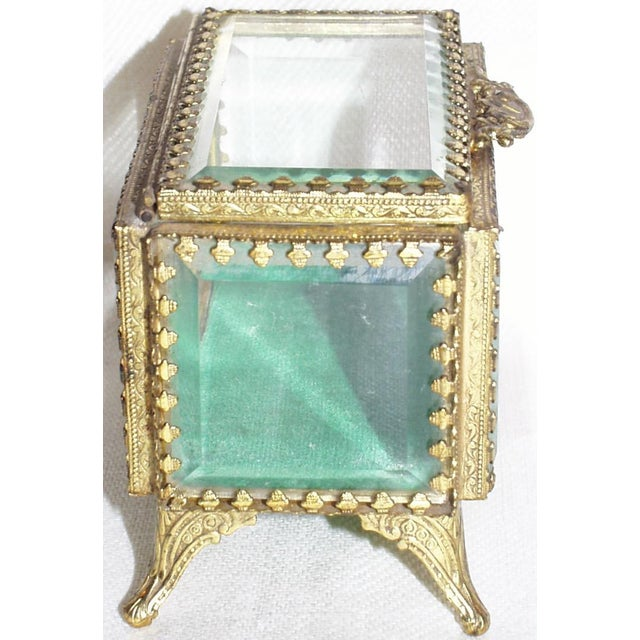 French 19th Century French Beveled Glass and Brass Jewel-Trinket Box For Sale - Image 3 of 9