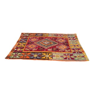 Vintage Turkish Cal Kilim Rug / Tapestry - 4′10″ × 8′1″ For Sale