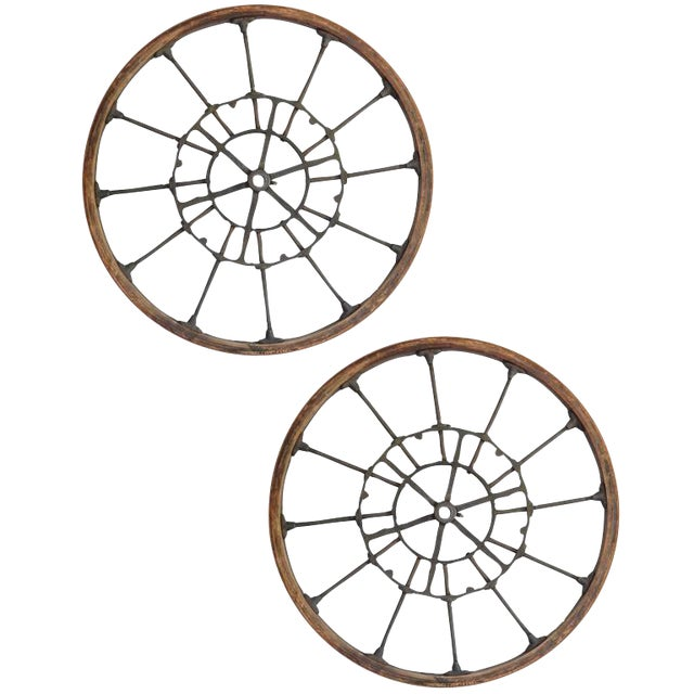Pair of Large Early Industrial Wheels - Image 1 of 9