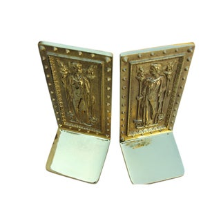 "Virginia Metalcrafters Co. Polished Brass ""Doors to the Library of Congress"" Bookends - a Pair"
